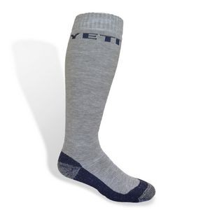 Merino Wool Knee High Ski/Snowboard Sock w/Knit-In Design
